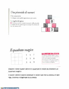 Interactive worksheet Una piramide di numeri