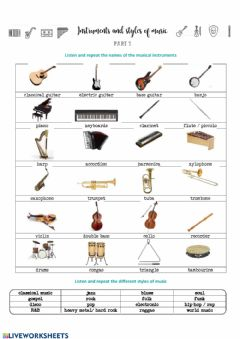 Ficha interactiva Musical instruments and styles (part 1)