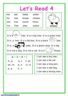 Interactive worksheet Let's read 4