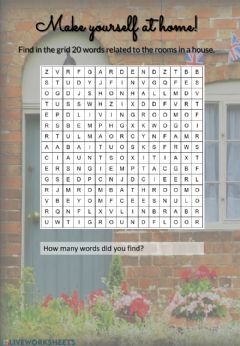 Interactive worksheet Rooms wordsearch