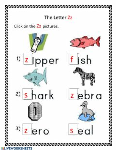 Interactive worksheet The Letter Zz
