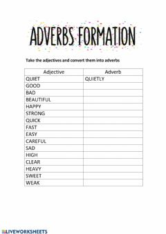 Interactive worksheet Adverbs formation