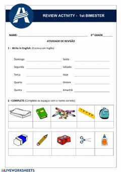 Interactive worksheet Review Activity - Unit 1 3th Grade