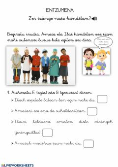 Interactive worksheet Entzumena 1