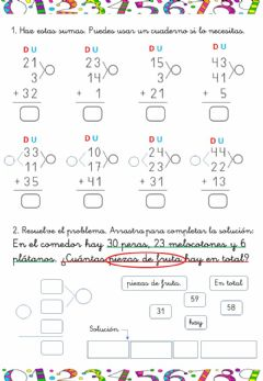 Interactive worksheet Sumas de 3 números