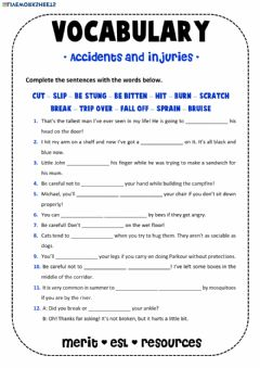 Ficha interactiva Vocabulary - Accidents and Injuries