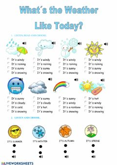 Interactive worksheet What's the weather like today?