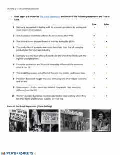 Interactive worksheet The Great Depression