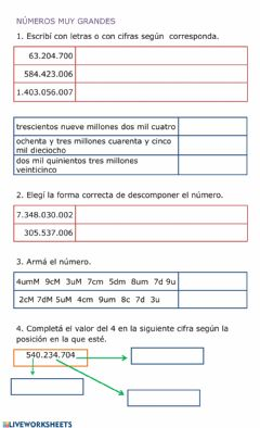 Interactive worksheet Millones