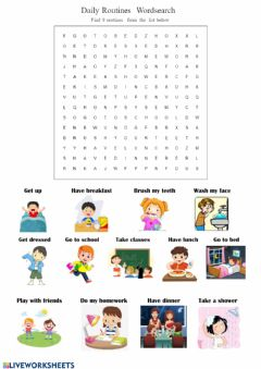 Ficha interactiva Daily Routines - Wordsearch