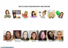 Ficha interactiva Matching  Dorrego teachers to their avatars