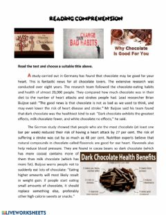 Interactive worksheet Chocolate is good for you