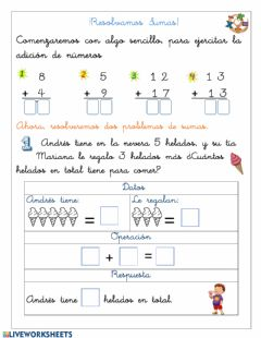 Interactive worksheet Resolver adiciones(adec.)