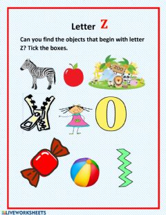 Interactive worksheet Letter Z activity