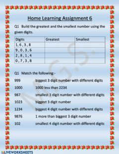 Interactive worksheet Building the numbers