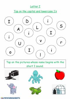 Interactive worksheet Letter I