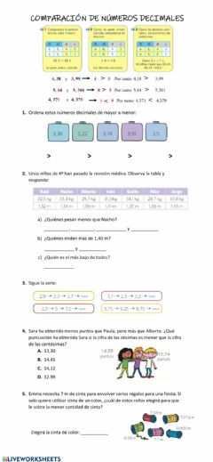 Interactive worksheet Comparar y ordenar decimales