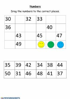 Interactive worksheet Number 30-50