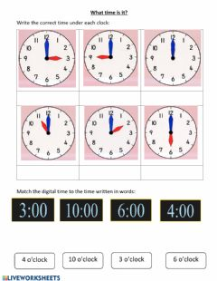 Interactive worksheet Time - o'clock
