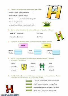 Interactive worksheet Uso de la letra H