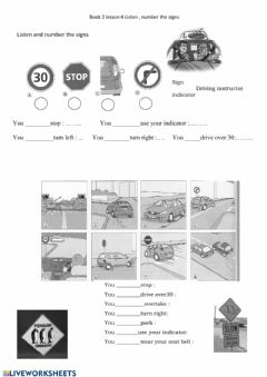 Interactive worksheet E6-B2L4-The driving lesson