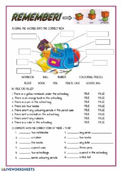Interactive worksheet There + to be