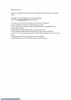 Interactive worksheet Relative Clause Exercise 1