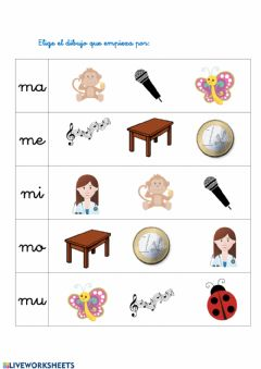 Interactive worksheet Empieza por: ma me mi mo mu