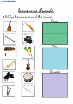 Interactive worksheet Els instruments musicals