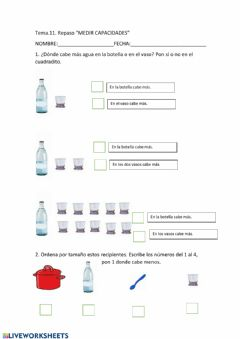 Interactive worksheet Repaso medir capacidades