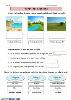Interactive worksheet Tipos de paisajes