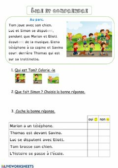 Interactive worksheet Lire et comprendre