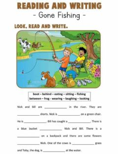 Interactive worksheet Reading and writing practice GONE FISHING