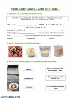 Interactive worksheet Pure substances and mixtures