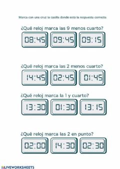 Interactive worksheet Reloj digital