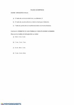 Interactive worksheet Triángulos