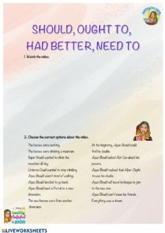 Ficha interactiva Inglés - Should, Ought to, Had better, Need to - Modals