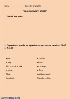 Interactive worksheet Listening: Brownie in a mug recipe
