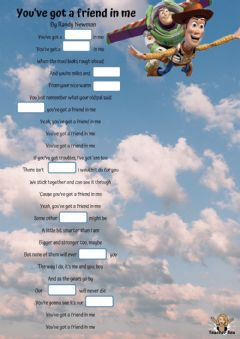 Interactive worksheet You've got a friend in me - by Randy Newman