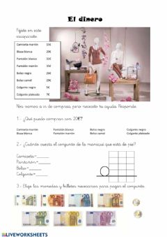 Interactive worksheet El dinero