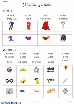 Interactive worksheet Vocabulary costume and accessories superheroes
