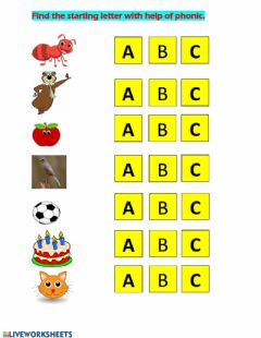 Interactive worksheet english phonic practice ABC
