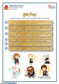 Interactive worksheet Harry Potter