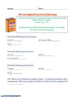 Interactive worksheet Percent-Fractions-Decimals