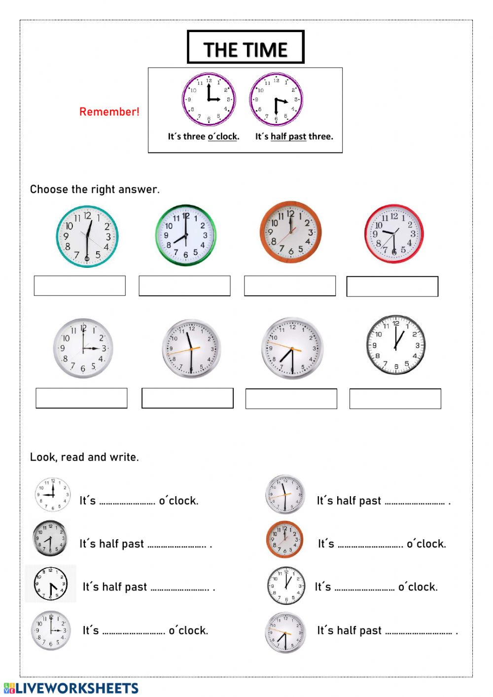 The time exercise for Grade 20