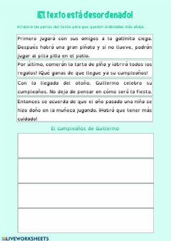 Interactive worksheet El texto está desordenado