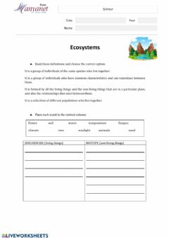 Interactive worksheet Ecosystems concepts