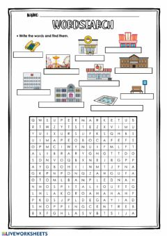 Ficha interactiva Wordsearch - Places in Town