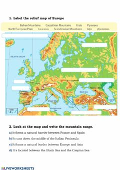 Interactive worksheet EUROPE'S RELIEF