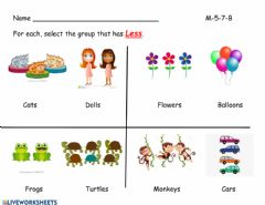Interactive worksheet Comparing